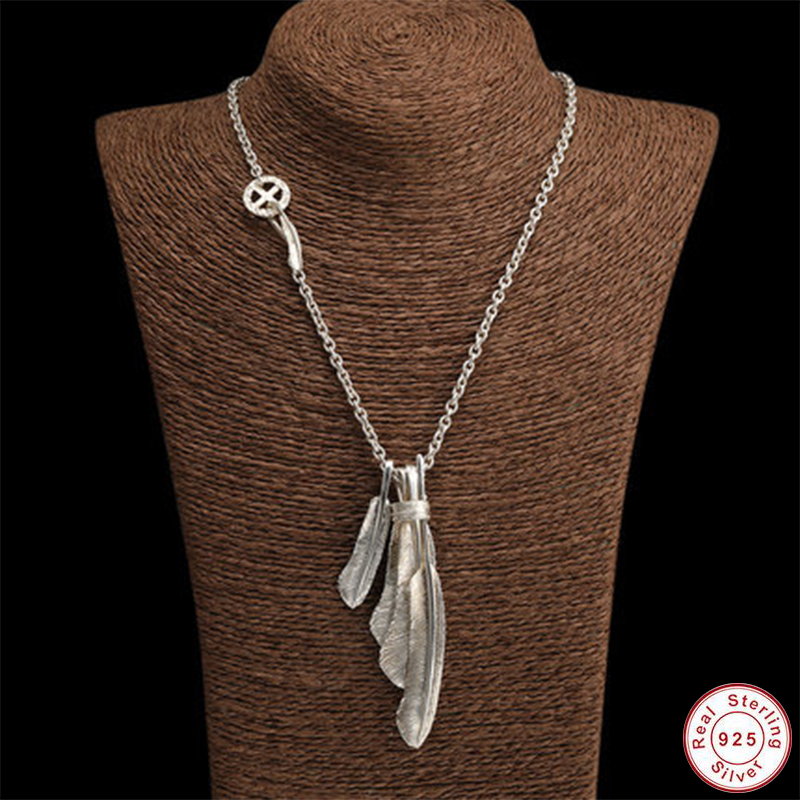 50g hommes collier 100% réel 925 en argent Sterling plumes aigle pendentif chaîne collier cadeau femmes bohême bijoux cadeaux de noël