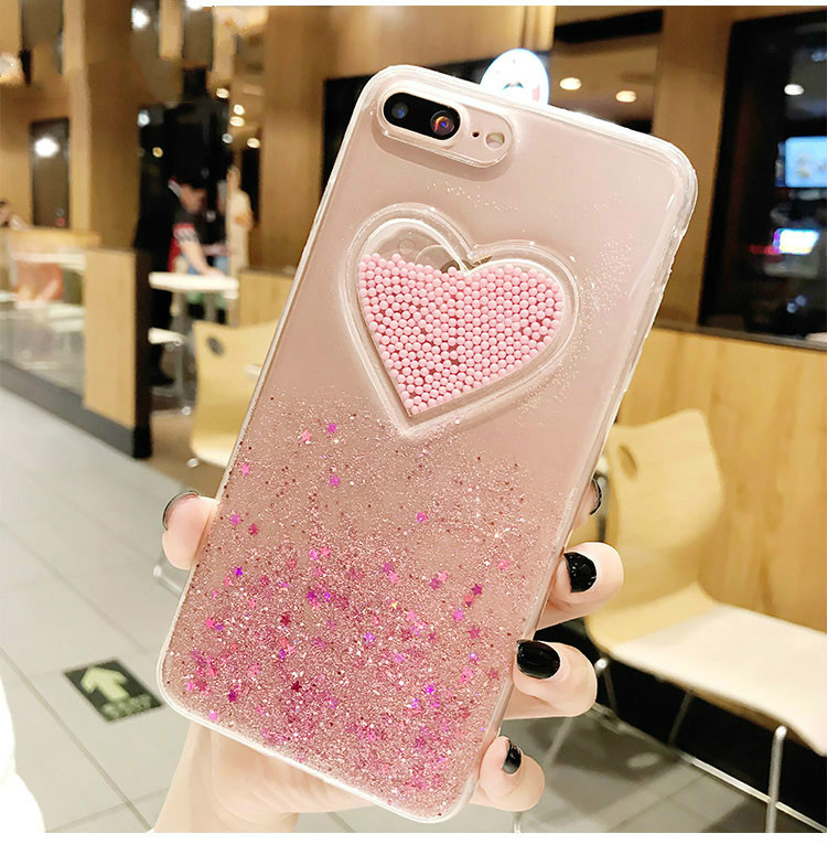 3D Glitter Heart Pink Case for iPhone XS Max Xr Transparent Soft TPU Cover  Coque for af08488cb60e