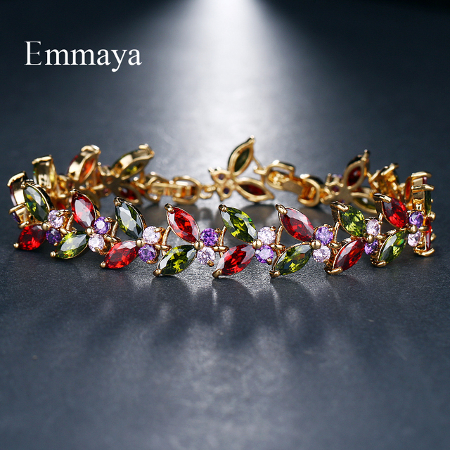 Emmaya Multicolor Bangles Classical Charm Shinny AAA CZ Bracelet New Design Jewelry for Female Party Gift