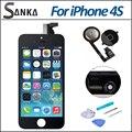 Для iPhone 4S ЖК-Дисплей Объектив С Сенсорным Экраном Digitizer & Black Главная Замена Кнопки Ассамблея С Repair Tool