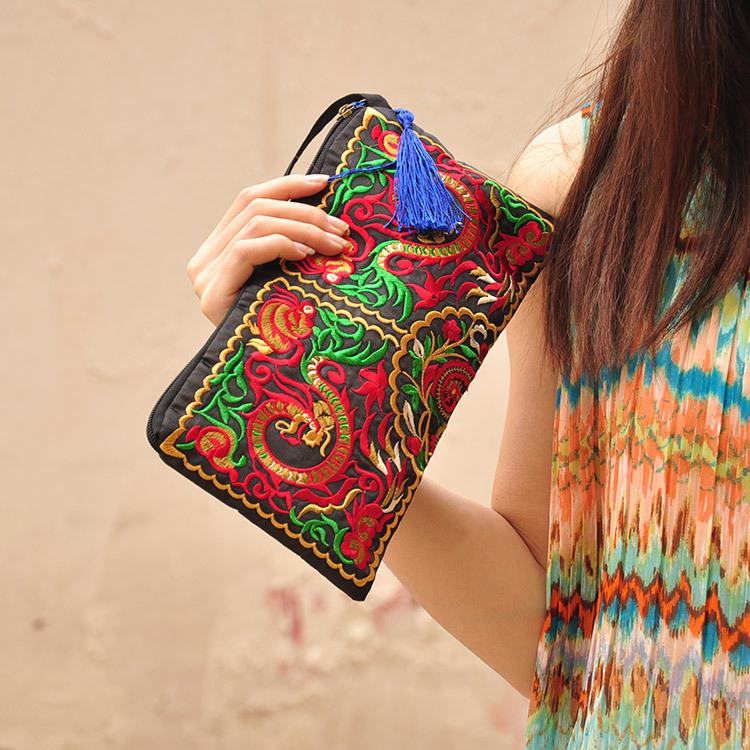 Women Ethnic National Retro Butterfly Flower Bags Dragon Coin Purse Embroidered Lady clutch Tassel Small Flap Summer Bolsa ...