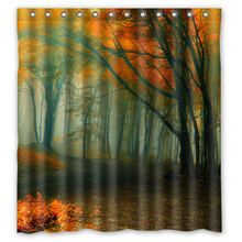 Foggy Forest Autumn Trees Custom Made Curtain Fabric Bath Bathroom  Waterproof Shower Curtain Size 48x72,