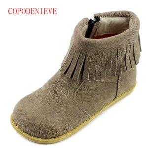 Image 3 - Botas cálidas de invierno para niñas, zapatos para niños, botas de nieve para niñas, botas con flecos para niñas, botas martin para niños, zapatos cálidos