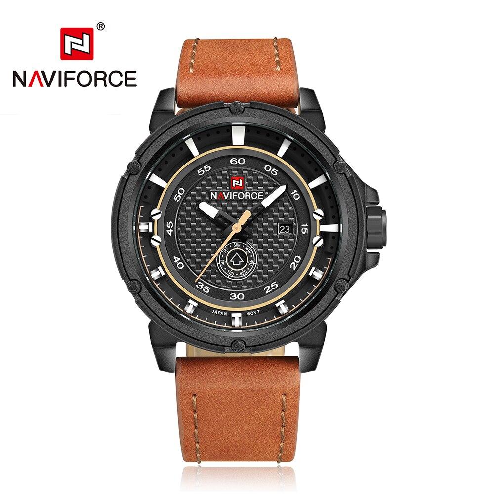 37f0c14d1fb NAVIFORCE Marca de Luxo Dos Homens Relógios Quartz Hora de Relógio Do  Esporte Dos Homens com Pulseira de Couro Militar Do Exército Relógio de  Pulso Relogio ...