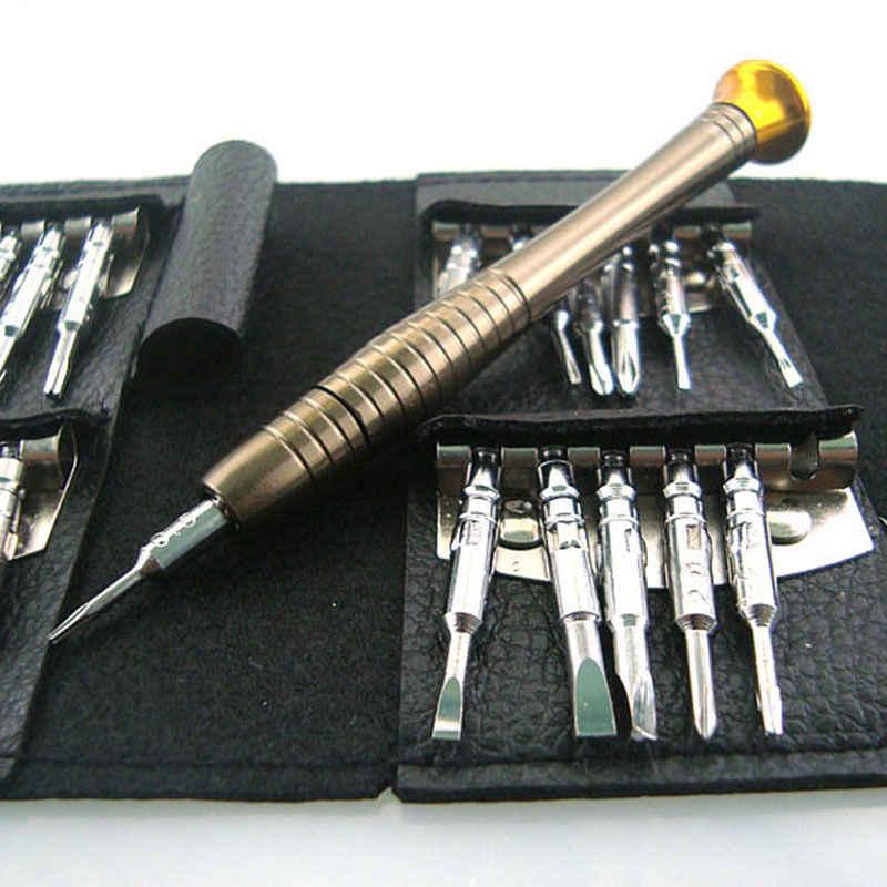 25 in 1 Combinatie Schroef Mobiele Telefoon Bril Reparatie Demonteren Tool Set PU Portemonnee Pocket Reparatie Gereedschap Elektronica Schroevendraaier