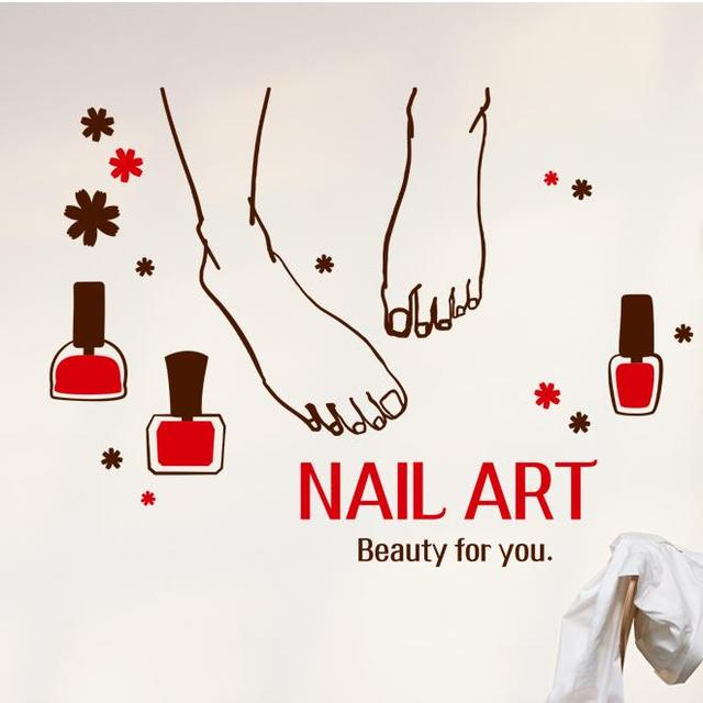 Nail Art Vinyl Wall Decal Bar Foot Manicure Sign Beauty Salon