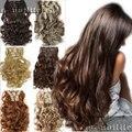 S-noilite 7 Шт./компл. Клип в Полной Головки Волос Расширение Реальных Природных Синтетические Парики Черный Коричневый Белый Серый волос