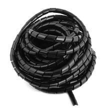8 М Длинный Гибкий Черный Полиэтилен Спиральный Кабель Обруча Провода Трубки 10 мм