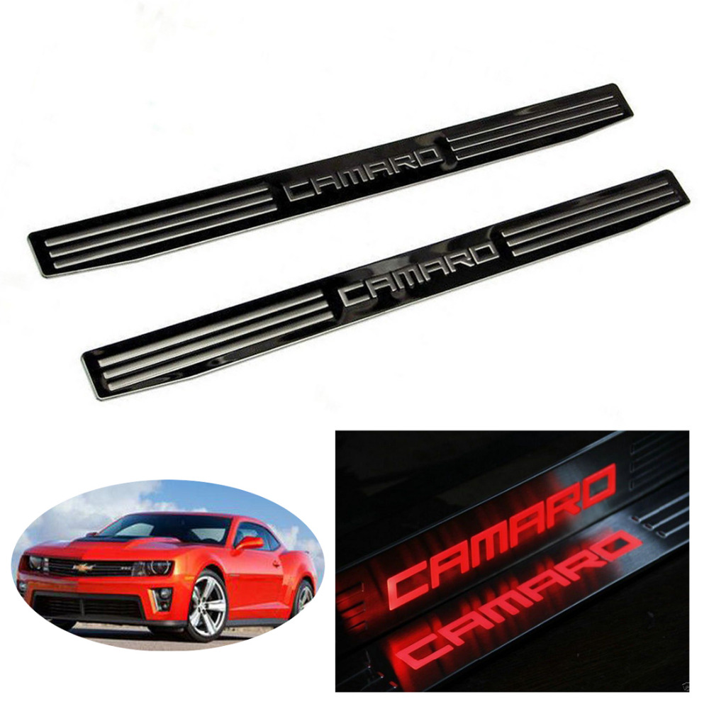 Car styling 2pcs car door sill scuff plate protector guard door entry sill guards for gm