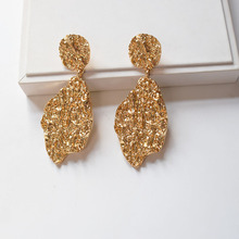 Hotsale Gold Hammered Metal Geometric Heart Lover Engagement Drop Earring Women Korean Fashion Jewelry Wedding Party Accessories