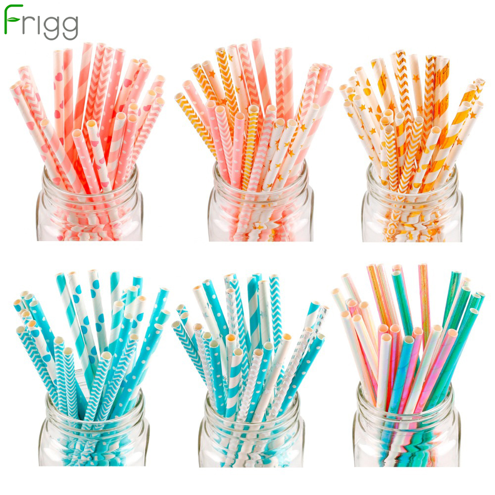FRIGG 25Pcs Lot Safe Paper Straws Birthday Party Decor Stripe Polka Pattern Straw Baby Shower Bachelorette Party Supplies in Party DIY Decorations from Home Garden