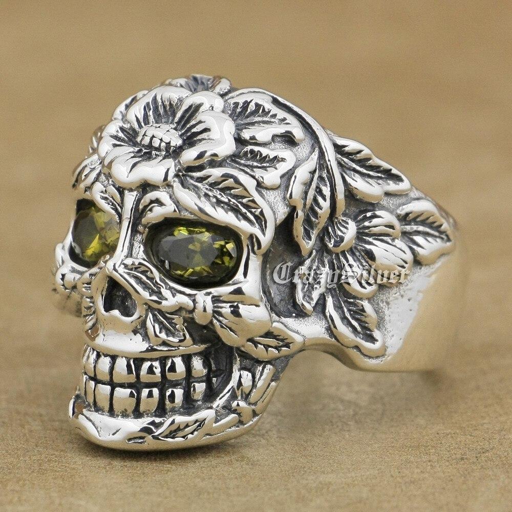 Black Olive Eye 925 Sterling Silver Flower Skull Mens Biker Ring 9W105 US Size 7.5~13 r003 skull shaped titanium steel ring black silver us size 8