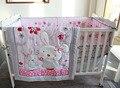 7 unidades de bordado 3d conejo encantador rosa flores insectos baby bedding set bebé edredón bumper faldón equipada cuna bedding set