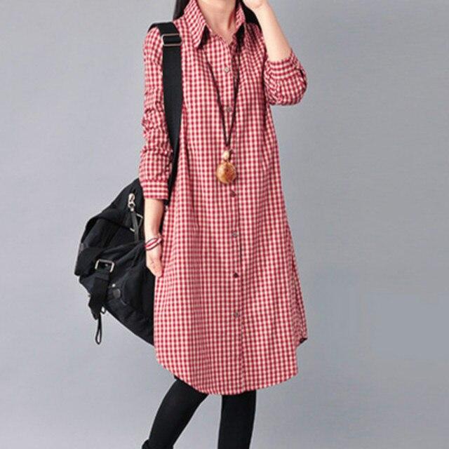 Весна Осень беременных женщин свободные платья одежда с длинными рукавами белье хлопок сетки лацкан беременных женщин плед платья M-XXL