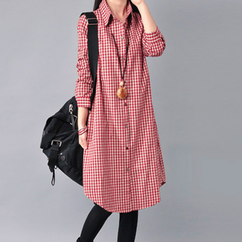 цена на Spring Autumn maternity women loose dress clothes long-sleeved linen cotton grid lapel pregnant female plaid dresses M-XXL