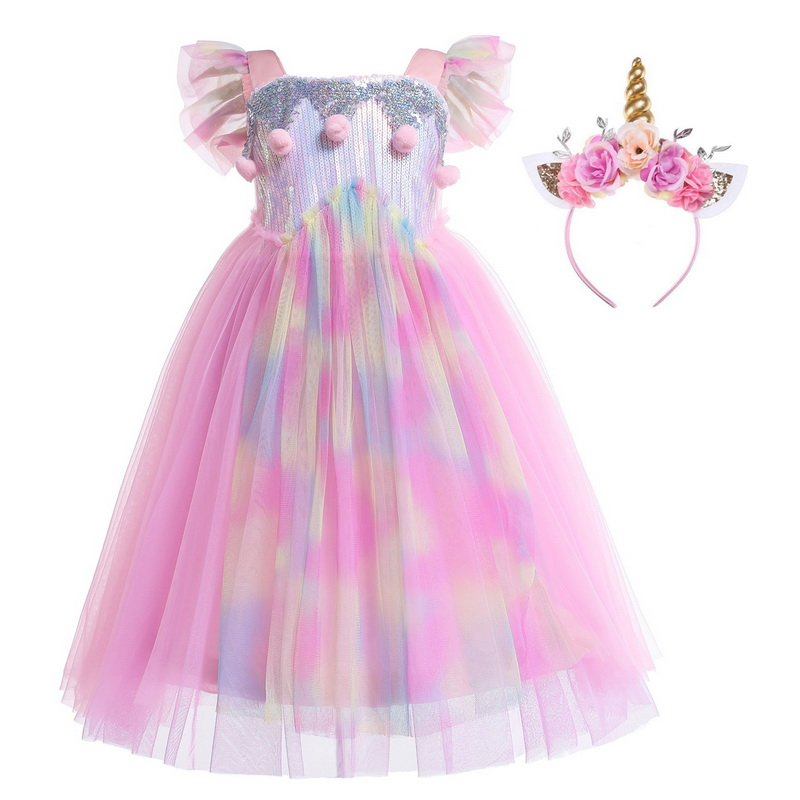 Girls Rapunzel Unicorn Costume With Flowers Headband Hairpiece Braided Wigs Tangled Hair Costume For Girl Party Fancy Dress