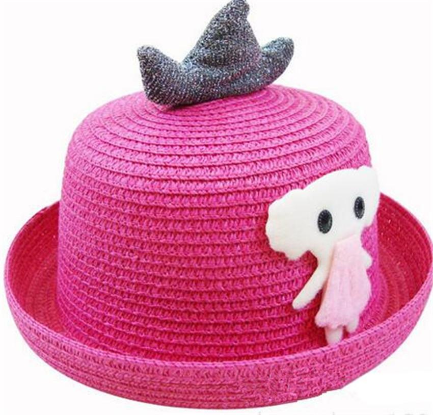 cd5b6864057fb Moda animales patrón niños Sol sombrero Niñas paja sombrero de ...