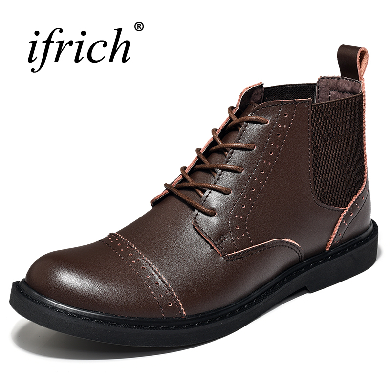 2017 Genuine Leather Men Boots Black Brown Casual Shoes Men High Top Men Walking Boots Leather Comfortable Footwear Men