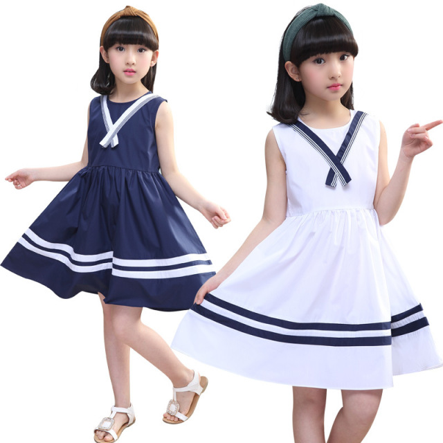 1a3166ebafea Gulugulumi Brand 2018 New Design Baby Girls Summer Dress Sleeveless Dress  Kids Fashion School Casual Striped