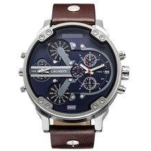 Marca de lujo de Los Hombres Correa de Cuero Relojes Ejército Militar Deportes homme Relojes Relogio masculino Masculino Reloj de Cuarzo de Acero Inoxidable