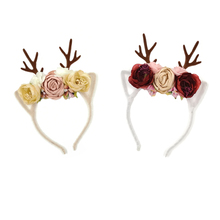 10pcs/lot Antlers Floral Crown Headbands Newly Arrival Christmas Baby Girls Cloth Diadem Fabric Flower Tiara Hairband Kidocheese
