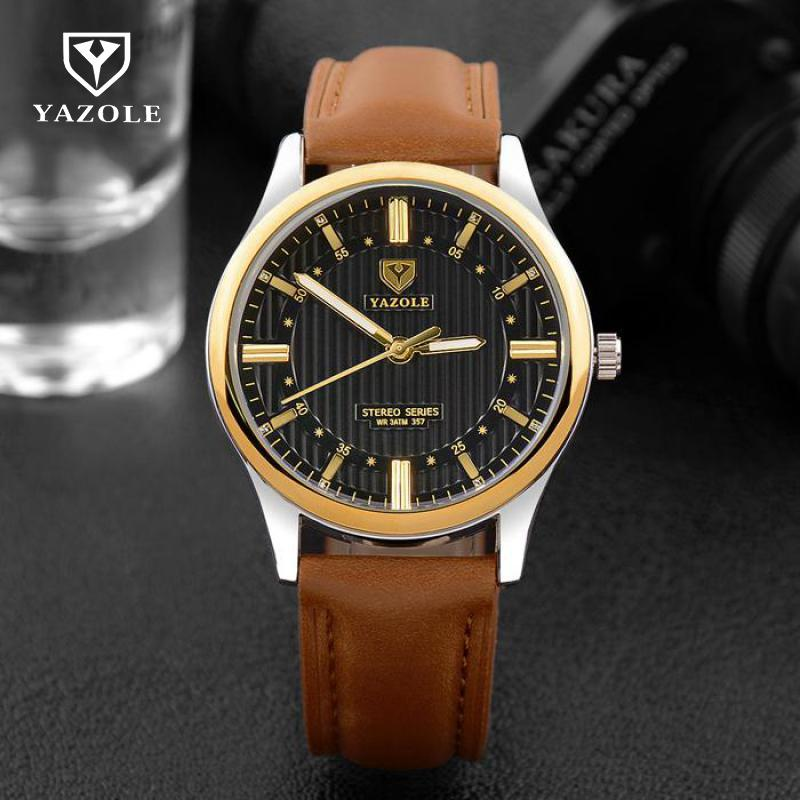 YAZOLE Business Men Wrist Watch Male Quartz Wristwatches Top Watches Men Luxury Brand Relogio Masculino No.357 Black Brown