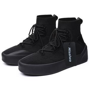 Image 2 - Misalwa Men Sock Shoes 38 45 High Top Casual Stretch Mens Vulcanize Shoe Winter Spring Lace Up Sneakers Flat / 2.5CM Increasing