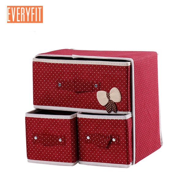 Oxford Cloth Box for The Storage of Clothes, Two Layers Three Lattice Underwear Socks Organizer Container Drawer Divider Lidded
