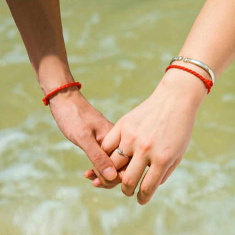 1 Pza 2mm 4mm pulsera de cadena de hilo rojo de la suerte verde pulsera de cuerda hecha a mano para Mujeres Hombres joyería pareja amante