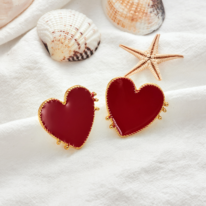 19 New Design Punk Gold Edge Red Acrylic Heart Stud Earrings For Women Bohemian Big Stud Earring Christmas Jewelry Gift 6