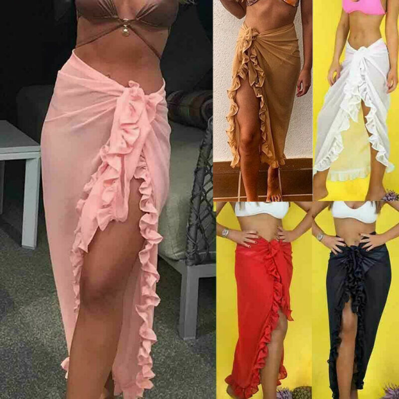 2019 New Women Bikini Beach Skirt Tunics For Beach Long Leaves Print Bikini Cover Up Robe De Plage Beach Swimsuit Wrap Sarong