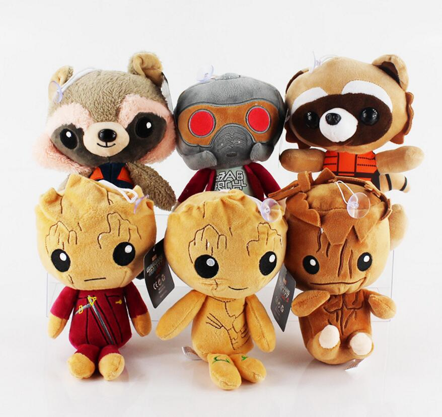 6 pcs/lot Guardians of the Galaxy 2 Plush doll toy 22cm Soft Plush Rocket Raccoon Star Lord Baby tree man wholesale Stuffed Toys