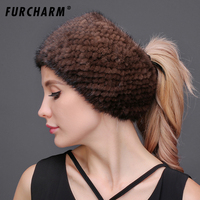 100% Real Mink Fur Knitted Headbands Can Be Used As Scarf Women Warm Winter Real Fur Headgear Ear Warmer Head Wrap Neckerchief