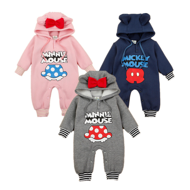 New Autumn Winter Baby Girl Clothes Mickey Fleece Warm Hoodies Romper Baby Boy Coat Jumpsuit Infant Newborn Bowknot Clothing baby clothes winter keep warm flannel baby rompers baby boy girl coat next romper newborn kids clothes jumpsuit set