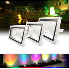 10W 20W 30W 50W LED Outdoor lamp RGB/White/warm white Waterproof Multicolor Flood Light + 24key IR Remote AC 85-265V(China)