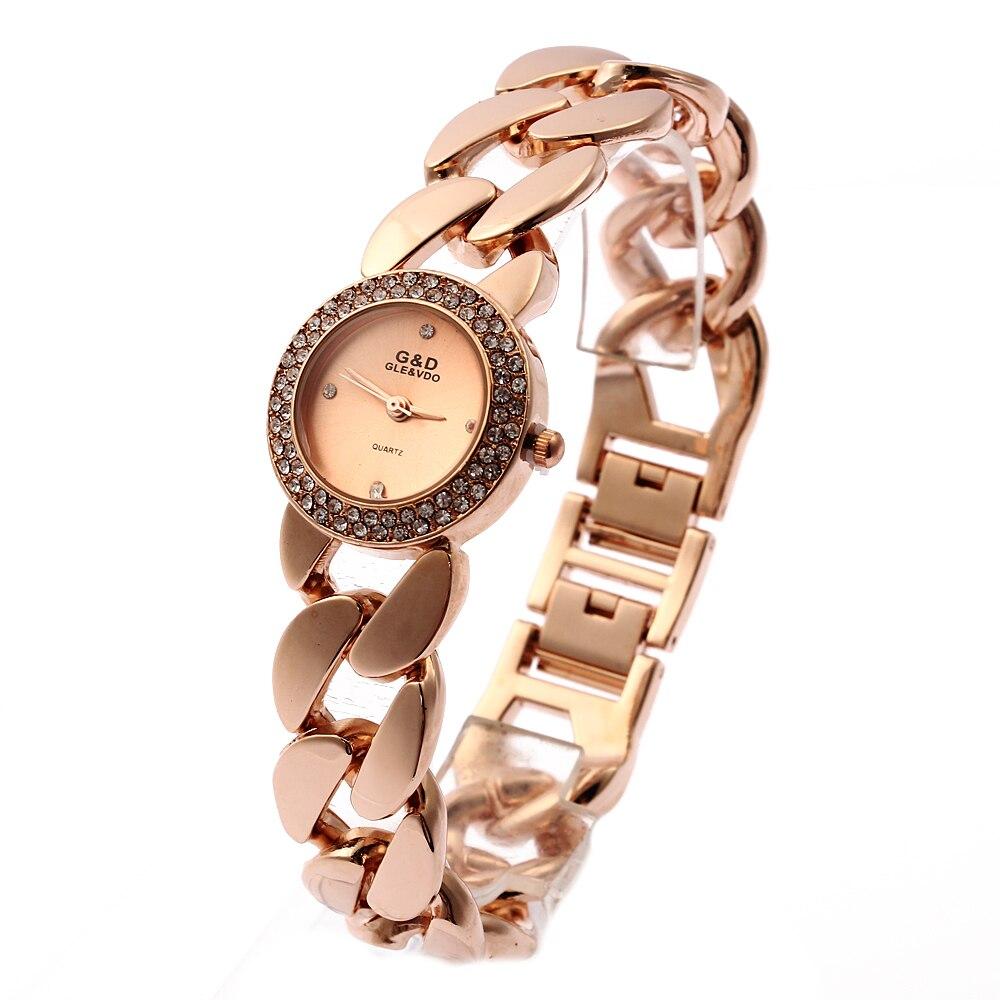 G   D mujeres cuarzo relojes de oro rosa de acero inoxidable rhinestone pulsera  de las mujeres relojes Reloj Mujer Regalos Relogio Feminino 447b79668afb
