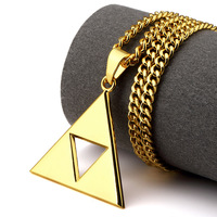 Bling Jewelry Gifts Gold Plated Men Women Charm Hollow Inverted Triangle Pendants Necklaces Street Dance Dj