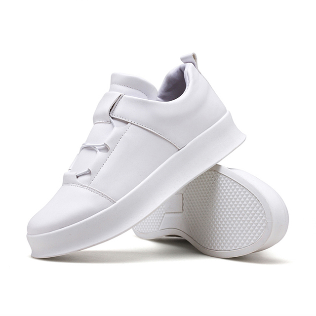men leather casual Shoes Trend Wild Lok Fu Increased Breathable Round Head White Sneakers Shoes Men Vintage Shoes Legther NO.267