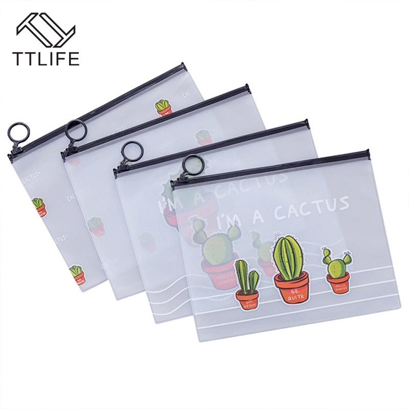 Image 2 - TTLIFE Waterproof PVC Cactus Transparent Travel Cosmetic Bag Makeup Case Learning Office Stationery Bag Organizer Pouch Bath Kit-in Storage Bags from Home & Garden