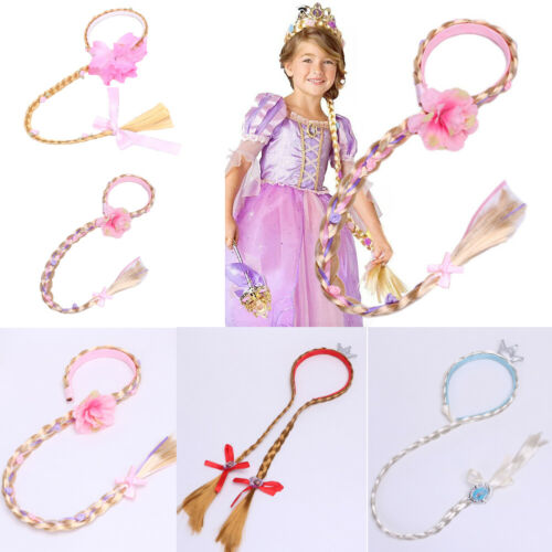 Girl Frozen Anna Wig Headband Hair Plait Disney Princess Kids Costume Accessory Rapunzel Princess Headband Hair Girl Wig