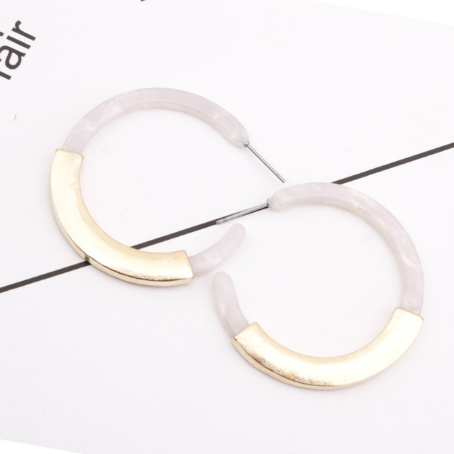Tortoise Shell Circle Disc Hoop Earrings For Women