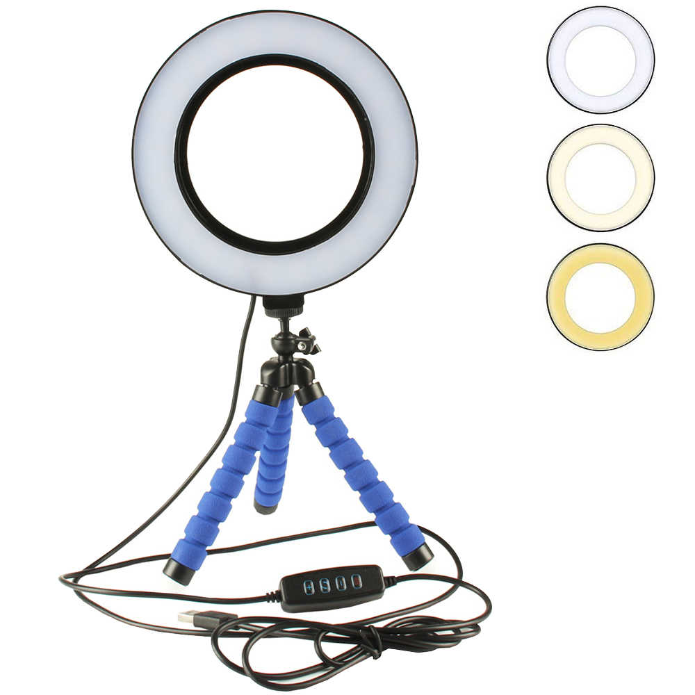 Mini LED Ring Light 3 Color Modes & 10 Brightness Level Portable Video Light 16CM Annular Lamp for Youtube Photo Shooting Tripod