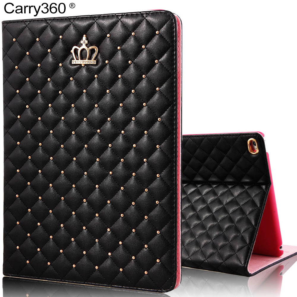 Carry360 Luxury Crown PU Leather for iPad Air 2 Case Wake Sleep Smart Cover for Apple iPad Mini 1 2 3 4 for iPad 2 3 4 Air 1 for apple ipad air 2 pu leather case luxury silk pattern stand smart cover