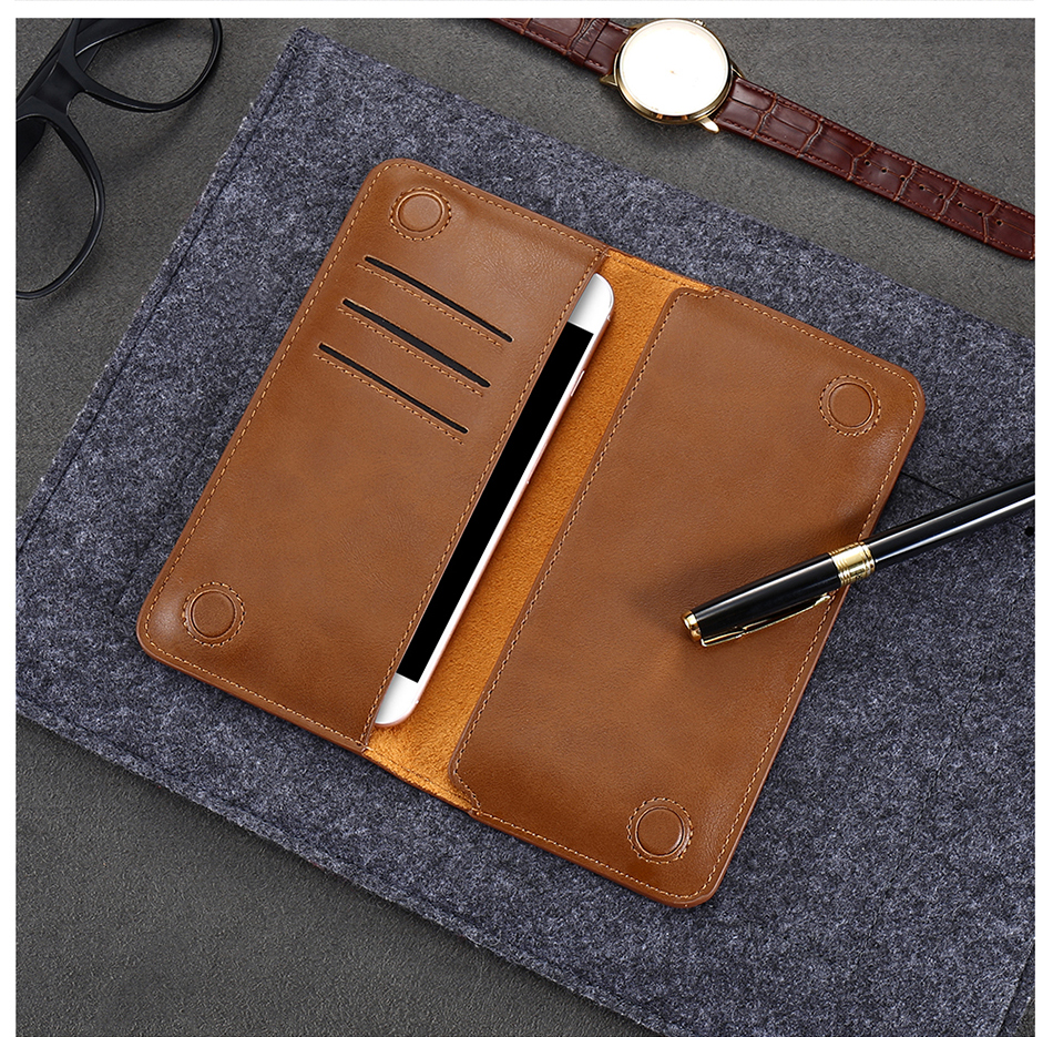 FLOVEME Genuine Leather Wallet Case For iPhone 6 6S 7 Plus Cover Multi-function Vintage Luxury Phone Pouch For Samsung S6 S7 (18)
