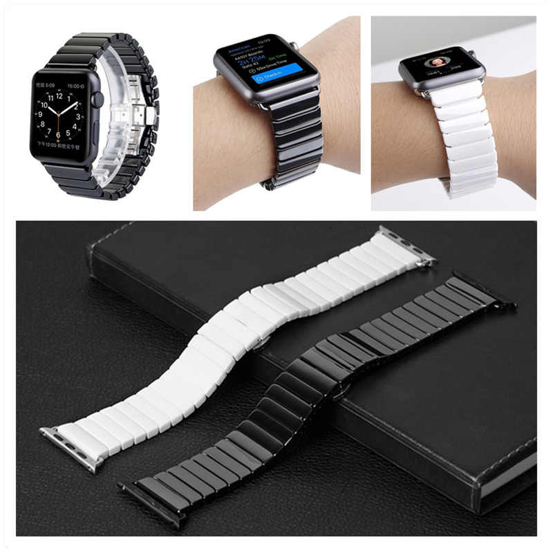 ASHEI Glossy Ceramic Watchband Strap For Apple Watch Band 42mm Series 3 Link Ceramic Bracelet Straps For iWatch Series 1/2 38mm