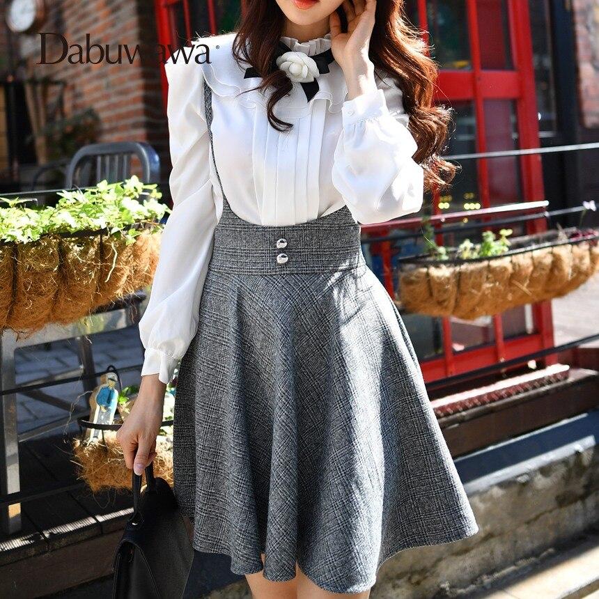 Dabuwawa Fashion High Waist A Line Elegant Suspender Skirt Plaid Pleated Skirt Female British Cute Skirts