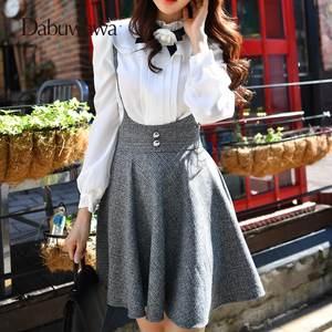 3a311990cdf1 Dabuwawa High Waist Plaid Pleated Skirt Female