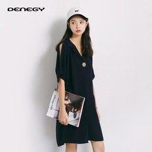 DENEGY Női Köntös ruha 2018 Rövid ujjú ruha Nyári Tiszta színű koreai változat chiffon temperamentum menyasszonyi ruha