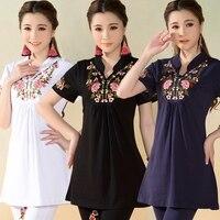 M L XL 2XL 3XL 4XL Dark Blue White Black Long Ethnic Vintage Mandarin Collar Embroidery