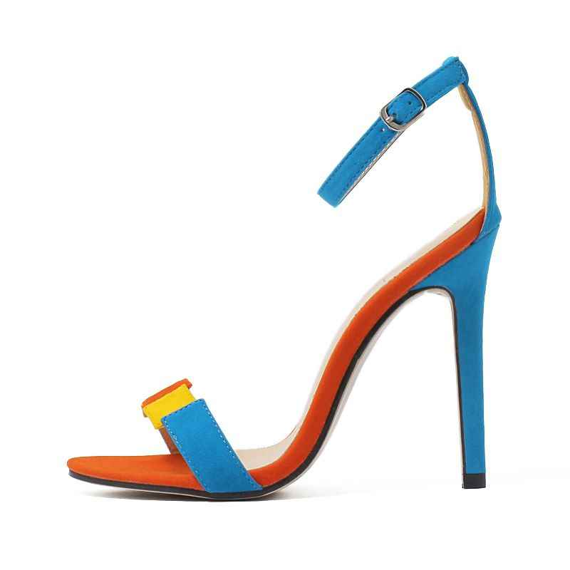 Asumer 2019 חדש אופנה נשים סנדלי 11.5 cm נעלי עקב גבוהה עקבים מעורב צבע גבירותיי נעלי קרסול רצועת קיץ נעלי חתונה